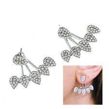 Pave Crystal Teardrop Curved Silver Arc Ear Jackets Cuff Earrings Spike Double