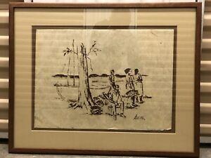 """Rare Original Tapa Cloth Artwork Signed By June Egan """"Sune"""" Hawaiian Tongo Art"""