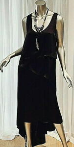 $248 BCBGMAXAZRIA Black Sleeveless Asymmetrical Hem Long Maxi Dress  L Gorgeous!
