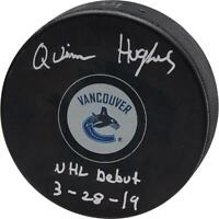 """Quinn Hughes Vancouver Canucks Signed Hockey Puck with """"NHL Debut 3-28-19"""" Insc"""