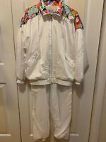 Lavon Vintage 90'S Womens Windbreaker/Sweatsuit/Tracksuit With Pants Sz Md White