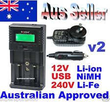 Soshine SC H2 Universal LCD Battery Charger Li-ion NiMH Li-fepo4 Aus Standards