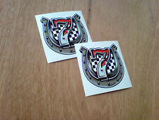 LUCKY 7 HORSESHOE Classic Hot Rod Vintage Car Helmet Stickers Decals 70mm