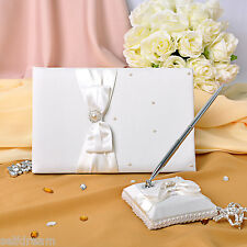 GB18b Ivory Bow Pearl Wedding Ceremony Satin Guest Book and Pen Set