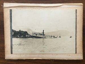 2 X CHINA HONGKONG OLD XL LARGE PHOTO SHIP IN SEA EUROPEAN PEOPLE HARBOUR !!