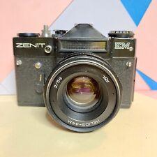Zenit EM 35mm SLR Film Camera With Helios 44M Lens 58mm F2 Working Order! Lomo