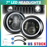 "2x 7"" Inch Round LED Headlights Halo Angle Eyes For Jeep Wrangler JK TJ CJ LJ"