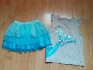 JUSTICE & GYMBOREE MERMAID 2 PIECE GIRLS OUTFIT SIZE 6-8