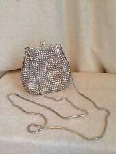 Vintage LE REGALE Silver Rhinestone  Set Swarovski Crystal Handbag Evening Bag