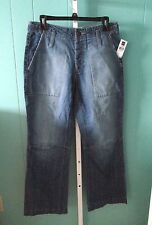 GAP $35 Acid-Washed, Frayed & Button Fly 100% Cotton Blue Jeans 30W/30L NWT