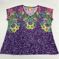 Ruby Rd Tee Top Tshirt Women's L Purple Floral Knit Semi Sheer V-Neck Cap Sleeve