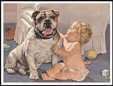 ENGLISH BULLDOG AND CUTE BABY LOVELY VINTAGE STYLE DOG ART PRINT POSTER