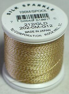 YLI 100% and 100wt Silk Sparkle Thread [ G12 - Natural White / Gold ]