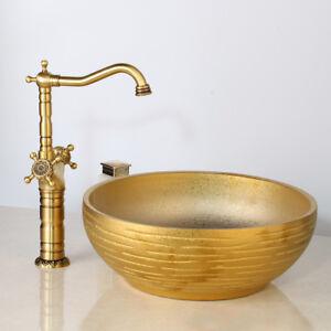 Golden Round Ceramic Wash Basin Bowl Sink Antique Brass Mixer High Faucet Taps