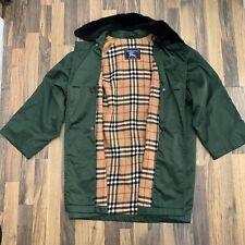 Women's Ladies BURBERRY Trench Coat Jacket Size Large UK 14 Green Nova Check
