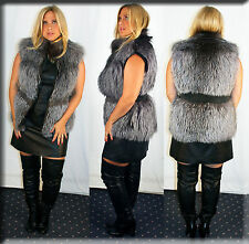 New Silver Fox Fur Vest Size Medium 6 8 M Efurs4less