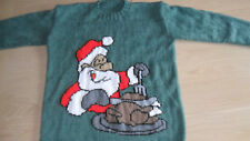 """New Hand Knitted Green Christmas Xmas Jumper 38/40"""""""