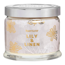 Partylite Lily & Linen Signature 3-wick Jar Candle Brand New