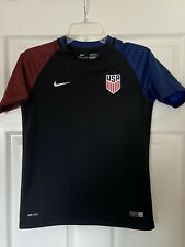 Nike Team Usa Soccer Jersey Boys L Black With Red Blue Embroidered Preowned