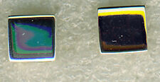 """925 Sterling Silver Plain Square Stud Earrings  HIgh Polished Silver 1/3"""" diamet"""