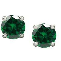 2Ct Emerald Stud Earrings Solitaire Earrings 14K White Gold Silver Halloween