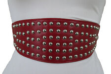 Women Hip High Waist Silver Metal Studs Wide Red Stretch Belt Faux Leather S M