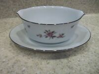 1 Noritake May Gravy Boat w/Attach 6661 White Pink Roses on Border Silver Trim