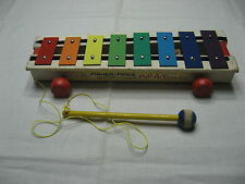 VTG FISHER PRICE PULL A TUNE XYLOPHONE 1964 METAL WOOD PLASTIC MUSIC TOY
