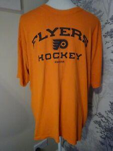 Vintage Reebok Orange Flyers Hockey  T Shirt Tee Sportswear Logo - Size L