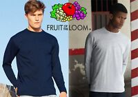 FRUIT OF THE LOOM maglietta T-shirt MANICA LUNGA magliette 8 colori LONG SLEEVE