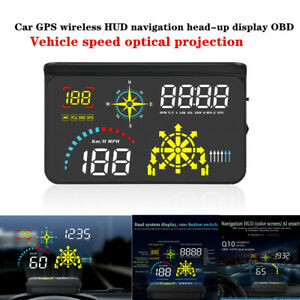 Car Auto GPS Wireless HUD Head-up Display OBD Vehicle Speed Optical Projection