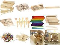 Lolly Pop Match Sticks Shaped Coloured Solid Sizes Wood Birch Craft School Bulk
