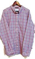 Columbia Mens XL Pink Blue Check Long Sleeve Button Down Cotton Casual Shirt