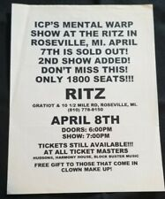 Insane Clown Posse - Mental Warp 2nd Show Flyer psychopathic records twiztid icp