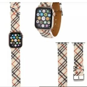 Apple watch band plaid Tan NEW faux leather