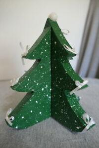 Green & White Painted Wood Desktop Christmas Tree w Ribbon Bows & Pom Pom Star