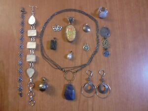 Vtg Silver tone necklace earrings bracelet ring pendant etc jewelry lot