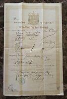 ORIGINAL - WW1 GERMAN (KINGDOM OF PRUSSIA) PASSPORT c1867