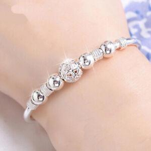 925 Sterling Silver Bangle Bracelet Charm Ladies Womens Jewellery Boho Xmas Gift