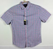 Nat Nast Mens M Short Sleeve Button Front Shirt Pink Blue  Plaid Collared NWT