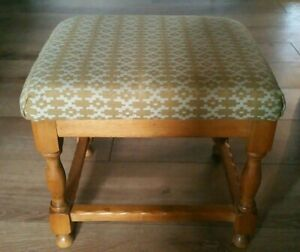 Vintage Welsh Tapestry Wooden Footstool