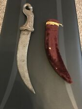 ANTIQUE VINTAGE INDIA DAMASCUS DAGGER KNIFE-PURE SILVER HANDLE-SHEATH.