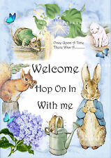 Peter Rabbit Welcome Sign A4 - Party Prop - Blue - Party Decoration Gift Blue