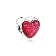 NEW Love Heart Red Enamel CZ Spacer Bead Suit 925 Silver Charms Bracelet