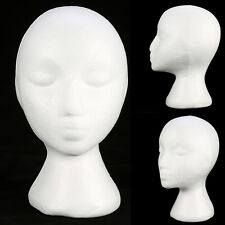 Styrofoam Foam Mannequin Female Head Model Dummy Wig Glasses Hat Display Stand