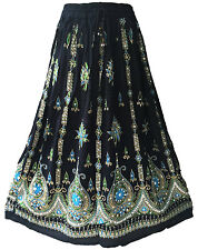 Black Boho Gypsy Hippie Lotus Flower Silver Gold Sequin Indian Paisley Skirt