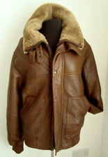 MEN'S BROWN SHEEPSKIN  FLYING AVIATOR PILOT JACKET- SIZE M - #2572