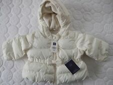 BABY GAP Infant Girls Ivory Peplum Bow Puffer Coat / Jacket Size 0-6 Months