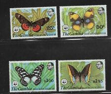 Gambia Scott #404-#407 mint lightly hinged 1980 World Wildlife Butterfly set og