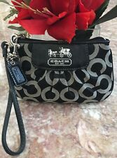 Coach 46663 Signature Madison OP Art Lurex Black  Purse Wristlet EUC